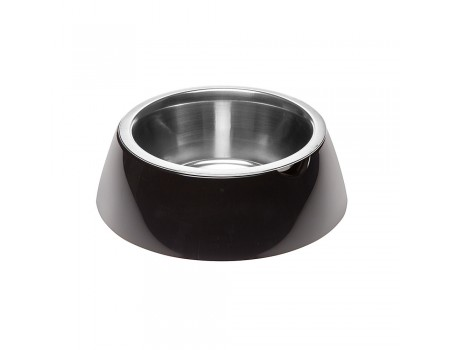 Ferpiast  JOLIE L BLACK BOWL  Металлическая миска для собак и кошек в комплекте с пластиковой подставкой, Ø 23.3 x 7,5 cm - 1.2 L