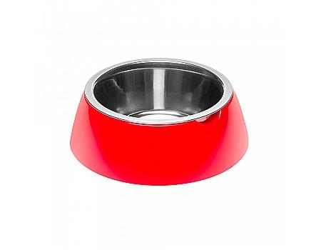 Ferpiast  JOLIE M RED BOWL  Металлическая миска для собак и кошек в комплекте с пластиковой подставкой, Ø 20 x 6.7 cm - 0,85 L